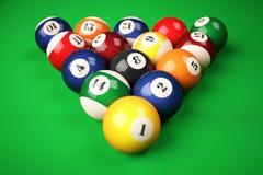 Pyramid balls pool billiard on green table Royalty Free Stock Photo