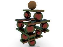 Pyramid of balls and seesaw on white Stock Images