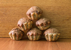 Pyramid of bicolor muffins Royalty Free Stock Photography