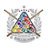 Pyramid of billiard balls with crossed cues in center of silver holy wreath. Sport logo for any darts game. Or championship vector illustration