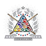 Pyramid of billiard balls with crossed cues in center of silver oak wreath. Sport logo for any darts game. Or championship vector illustration