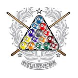 Pyramid of billiard balls with crossed cues in center of silver wreath. Sport logo for any darts game. Or championship stock illustration