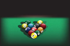 Pyramid billiard balls Royalty Free Stock Photo