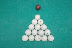 Pyramid of billiard balls on table. Ball stock photography