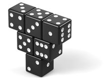 Pyramid from black dice Royalty Free Stock Photo