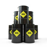 Pyramid of black oil barrel. 3D royalty free illustration