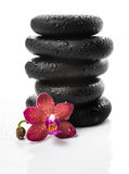 Pyramid of black zen stones and red orchid, phalaenopsis Royalty Free Stock Photography
