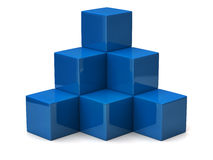 Pyramid of blue cubes Stock Photography