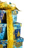 Pyramid of blue gift boxes Royalty Free Stock Image