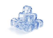 Pyramid of blue ice cubes Stock Images
