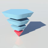 Pyramid with blue sections and a red one Royalty Free Stock Photo