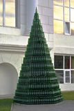 Pyramid of bottles of champagne near the administrative building of the winery Abrau-Durso. (Krasnodar, Russia) Royalty Free Stock Photography