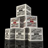 Pyramid box news. Cube news realized with clippings of newspaper-rendering Royalty Free Stock Images