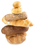 Pyramid of bread. Various bread type on table.  shop concept Royalty Free Stock Photography