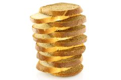 Pyramid of bread pieces. On a white background Royalty Free Stock Photos