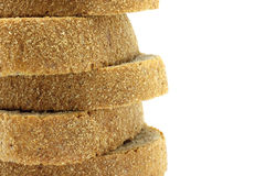 Pyramid of bread pieces close-up. On a white background Stock Image