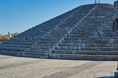 Pyramid of bricks against the sky, Dnepropetrovsk Stock Photos