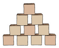 Pyramid from brown cubes  vector Royalty Free Stock Photos