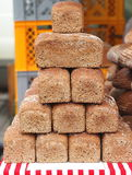 Pyramid of brown wheat-rye bread. At czech farmers market Stock Photos
