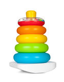 Pyramid build from colored plastic rings Royalty Free Stock Photo