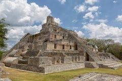 Pyramid building at the Edzna ruins Mexico royalty free stock images