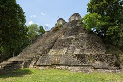 Ancient structure at Maya archeological site of Dzibanche Mexico. Pyramid building at the Maya archeological site of Dzibanche Mexico royalty free stock photos