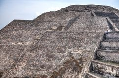 Pyramid building of Teotihuacan with the stairs stock image