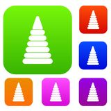 Pyramid built from plastic rings set color collection Royalty Free Stock Photography