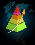 Pyramid business graph. With world map Royalty Free Stock Photography
