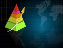 Pyramid business graph with world map Stock Photo