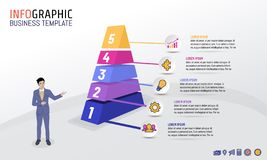 Pyramid Business Infographic template with 5 steps, options, Vector illustration. Layout design for business plan, strategy or any purpose stock illustration