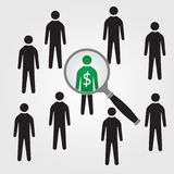 Pyramid business scheme, one in a million. stock illustration