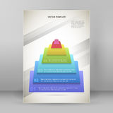 Pyramid business style infographics report presentation template. Design business presentation template. Vector illustration for technology infographics, number Royalty Free Stock Photography