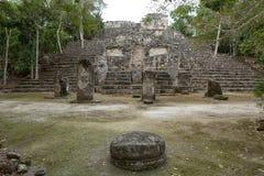 Pyramid at Calakmul maya ruins Mexico royalty free stock images