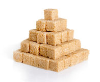 Pyramid of cane sugar cubes Stock Images