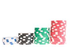 Pyramid of casino chips Royalty Free Stock Photos