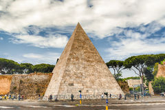 Pyramid of Cestius, iconic landmark in Rome, Italy Royalty Free Stock Images