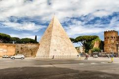 Pyramid of Cestius, iconic landmark in Rome, Italy Royalty Free Stock Image