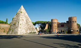 Pyramid of Cestius and the Porta San Paolo, Rome Stock Photos