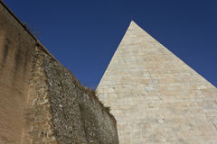 Pyramid of Cestius and roman ancient walls Royalty Free Stock Photography