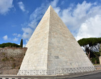 Pyramid of Cestius viewed from Via Ostiensis in Rome. Ancient Pyramid of Cestius with beautiful sky Royalty Free Stock Images