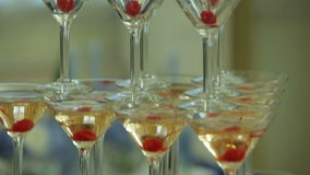 Pyramid of champagne close-up stock video footage