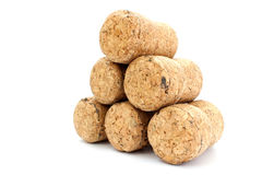 Pyramid of champagne corks Stock Images