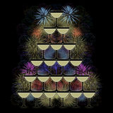 Pyramid of champagne glasses on a firework background. Pyramid of champagne glasses on a colorful firework background Royalty Free Stock Photo