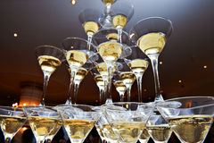 Pyramid of champagne glasses royalty free stock photos