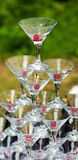 A pyramid of champagne glasses set for pouring a champagne Stock Images