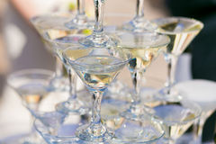 Pyramid of champagne glasses Royalty Free Stock Photo