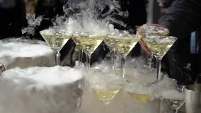 Pyramid of champagne. At the party stock footage
