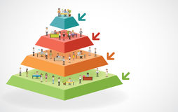 Pyramid chart with business people working Royalty Free Stock Images