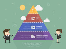 Pyramid chart. Business person presenting Pyramid type infographic elements Royalty Free Stock Photo